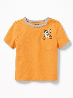 Cheetah-Graphic Pocket Tee for Toddler Boys