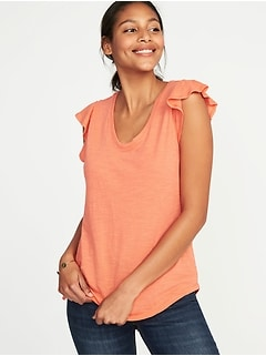 Ruffle-Trim Voop-Neck Tee for Women