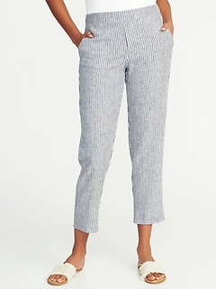 Mid-Rise Pull-On Striped Linen-Blend Pants for Women