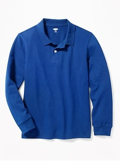 Built-In Flex Long-Sleeve Uniform Pique Polo for Boys