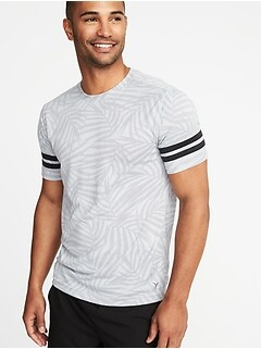 Go-Dry Printed Sleeve-Stripe Tee for Men