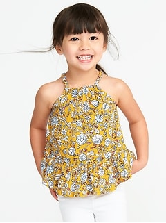 Floral-Print Tiered-Hem Cami for Toddler Girls