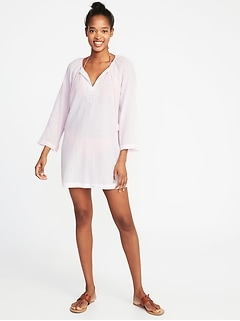 Embroidered Tassel-Tie Swim Tunic for Women