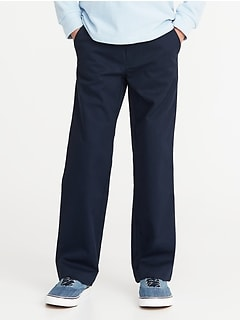Stain-Resistant Uniform Straight Khakis for Boys