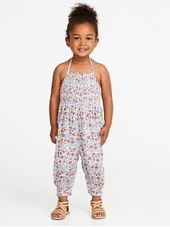 Floral-Print Halter Jumpsuit for Toddler Girls