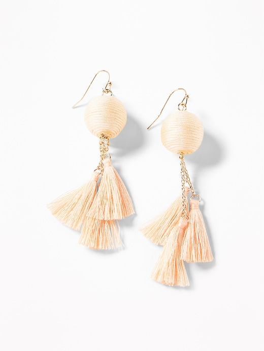 Wrapped Ball Tassel Drop Earrings For Women by Old Navy