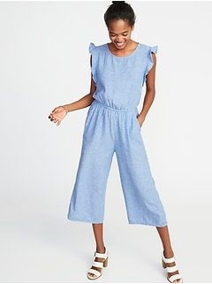 Waist-Defined Linen-Blend Utility Jumpsuit for Women