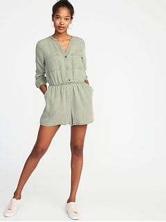 Waist-Defined Tencel&#174 Utility Romper for Women