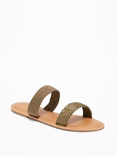 Faux-Suede/Braided Double-Strap Sandals for Women