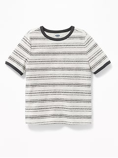 Jacquard-Stripe Ringer Tee for Toddler Boys