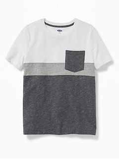 Color-Blocked Slub-Knit Pocket Tee for Boys