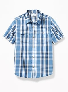 Patterned Double-Pocket Shirt for Boys