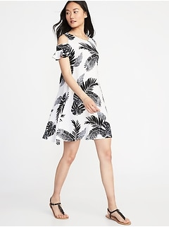 Cold-Shoulder Swing Dress for Women