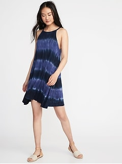 Suspended-Neck Tie-Dye Swing Dress for Women