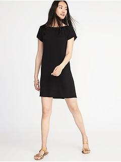 Smocked-Neck Shift Dress for Women
