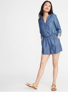 Button-Front Tencel&#174 Utility Romper for Women