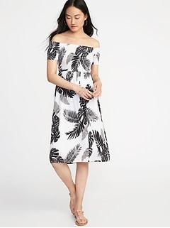 Fit & Flare Off-the-Shoulder Midi Dress for Women