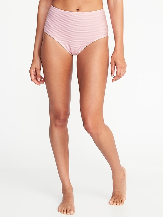 Mid Rise Textured Stripe Swim Bottoms For Women by Old Navy
