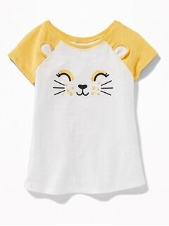 Slub-Knit Raglan-Sleeve Tunic for Toddler Girls