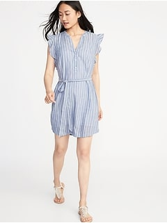 Sleeveless Tie-Belt Shirt Dress for Women