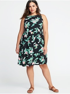 Plus-Size Sleeveless Ruffle-Hem Waist-Defined Dress