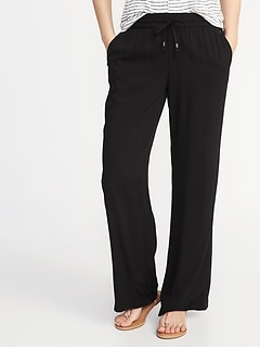 Mid-Rise Wide-Leg Soft Pants for Women