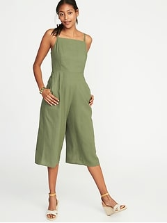 Waist-Defined Square-Neck Linen-Blend Jumpsuit for Women