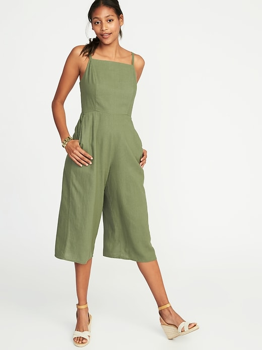 Sleeveless Square Neck Linen Blend Jumpsuit For Women by Old Navy
