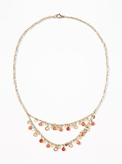 Enamel-Disc Statement Necklace for Women