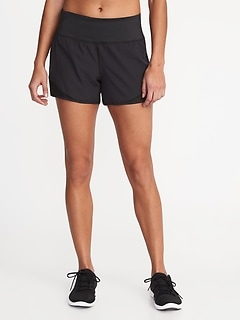 Mid-Rise 4-Way Stretch Mesh-Trim Run Shorts for Women