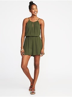 Waist-Defined Sleeveless Keyhole Romper for Women