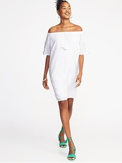Embroidered Off-the-Shoulder Shift Dress for Women