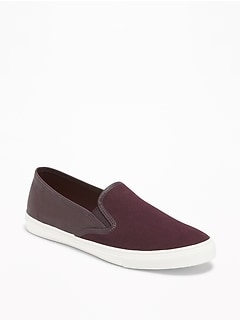 Canvas/Faux-Leather Slip-Ons for Women