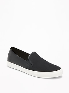 Faux-Suede/Faux-Leather Slip-Ons for Women