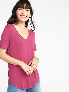 Luxe Curved-Hem V-Neck Tee for Women