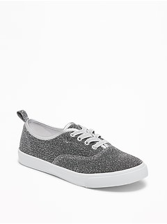 Silver-Metallic Textured Sneakers for Girls