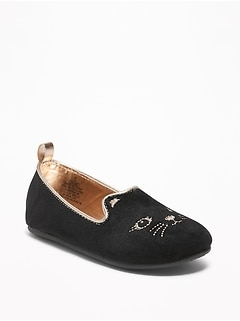 Black Velvet Cat Ballet Flats For Toddler Girls & Baby