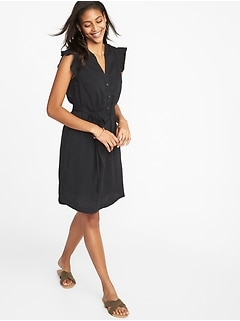 Ruffle-Trim Tie-Belt Shirt Dress for Women