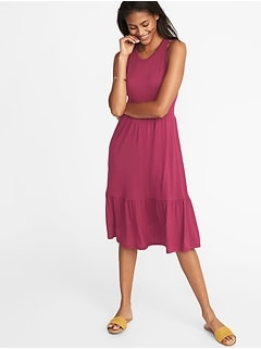 Sleeveless Ruffle-Hem Jersey Fit & Flare Dress for Women