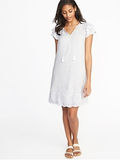 Tassel-Tie Linen-Blend Shift Dress for Women
