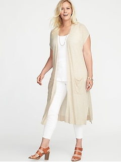 Plus-Size Super-Long Open-Front Pointelle Sweater