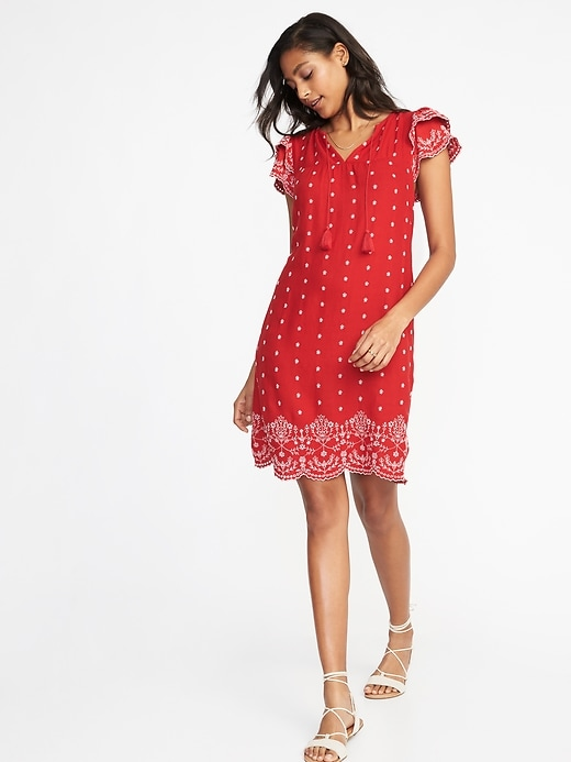 Tassel Tie Flutter Sleeve Dress For Women by Old Navy