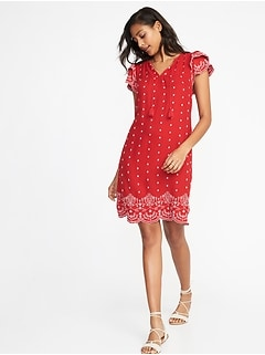 Tassel-Tie Flutter-Sleeve Shift Dress for Women
