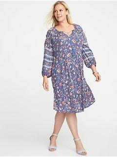 Plus-Size Boho Tassel-Tie Swing Dress