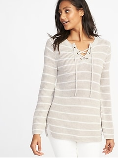 Lace-Yoke Bell-Sleeve Sweater for Women