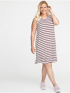 Sleeveless Plus-Size Jersey-Knit Swing Dress