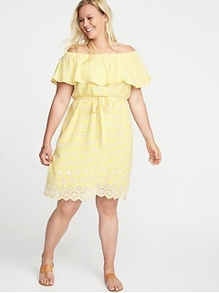 Off-the-Shoulder Tie-Belt Plus-Size Shift Dress