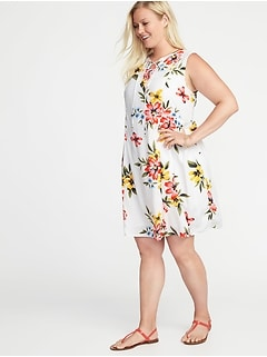 Plus-Size Lace-Up-Front Swing Dress