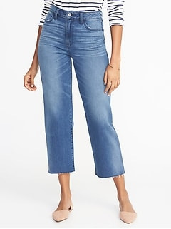 ce60ec88e94 High-Rise Wide-Leg Cropped Jeans for Women