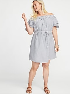 Off-the-Shoulder Plus-Size Tie-Belt Swing Dress